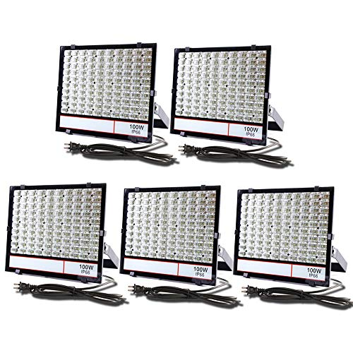 <グレードアップ>超薄型・超高輝度 LED投光器 100W 昼光色 10000LM AC85~265V 優れた放熱性 安全性高い 広い範囲照射可能 防塵防水レベルIP66同等以上 室内屋外・工事現場・看板照明適用 余裕の3mコード プラグ付き 汎用 超コスパ 一年保証付き