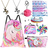 Standie 9PCS Drawstring Backpack for Unicorn Girls Include Makeup Bag Bracelet Necklace Set Hair Ties for Unicorn Party Favors