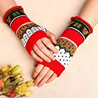 Zoestar Winter Arm Warmers Crochet Knit Fingerless Gloves with Thumb Hole Long Arm Gloves for Women (Red)