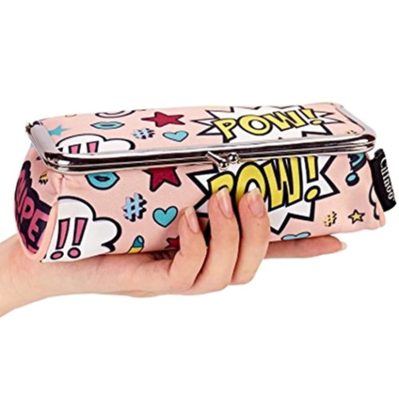 悲鳴ビル奇妙な化粧ポーチ かわいい がま口 ポーチ メイクポーチ ファッション レディース (ピンク)