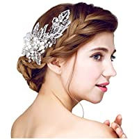 YAZILIND 頭飾り美容女性の花嫁の結婚式のヘアクリップバレッタ合金の枝ラインストーンパーティーヘアアクセサリー