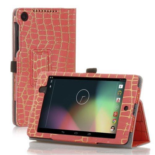 TNP Google Nexus 7FHD 2nd Gen Case–スリムフィット合成レザーフォリオケーススタンドwithスマートカバー自動スリープ・ウェイク機能とスタイラスホルダーfor Googleネクサス27.0インチ2013タブレット 7 Inch GL_NX7_2_LC_BMB_PNK
