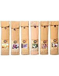 Karma Scents プレミアム スパ インセンス 180 スティック コットンバッグに入った6つの木製ホルダー付き - 6セットパック - 6種類の香り