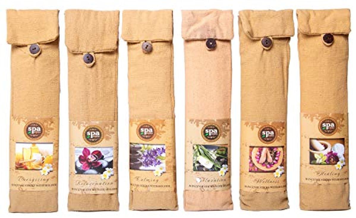ホテルモッキンバード独立してKarma Scents プレミアム スパ インセンス 180 スティック コットンバッグに入った6つの木製ホルダー付き - 6セットパック - 6種類の香り