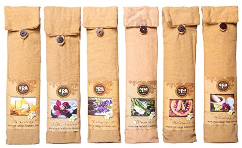 無数の落ちた理論的Karma Scents プレミアム スパ インセンス 180 スティック コットンバッグに入った6つの木製ホルダー付き - 6セットパック - 6種類の香り