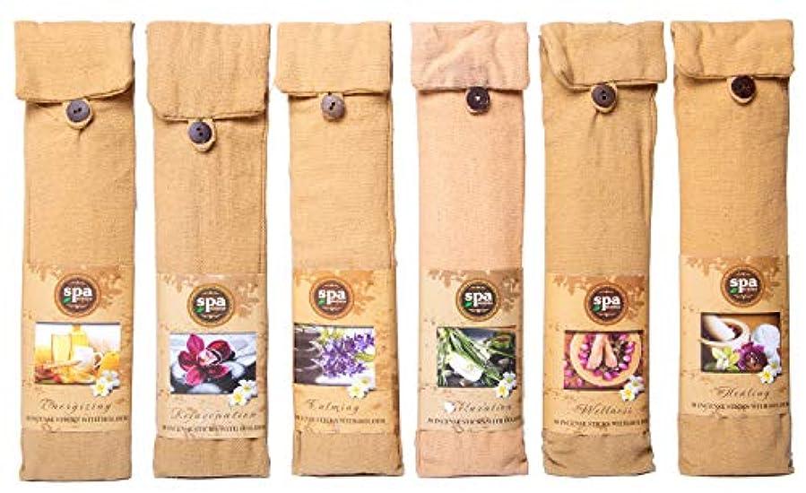 一時解雇する原子炉バーゲンKarma Scents プレミアム スパ インセンス 180 スティック コットンバッグに入った6つの木製ホルダー付き - 6セットパック - 6種類の香り
