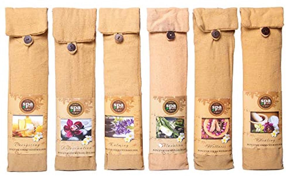 賢い満足させるドローKarma Scents プレミアム スパ インセンス 180 スティック コットンバッグに入った6つの木製ホルダー付き - 6セットパック - 6種類の香り