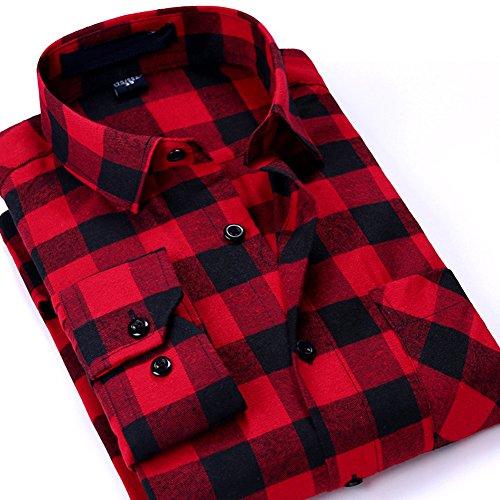 S.Flavor メンズ 長袖シャツ ネルシャツ カジュアルシャツ