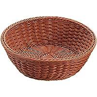 B級品 洗える 丸型バスケット30型(ブラウン) 樹脂製手作り籐風かご 約 直径φ305×H110(mm)