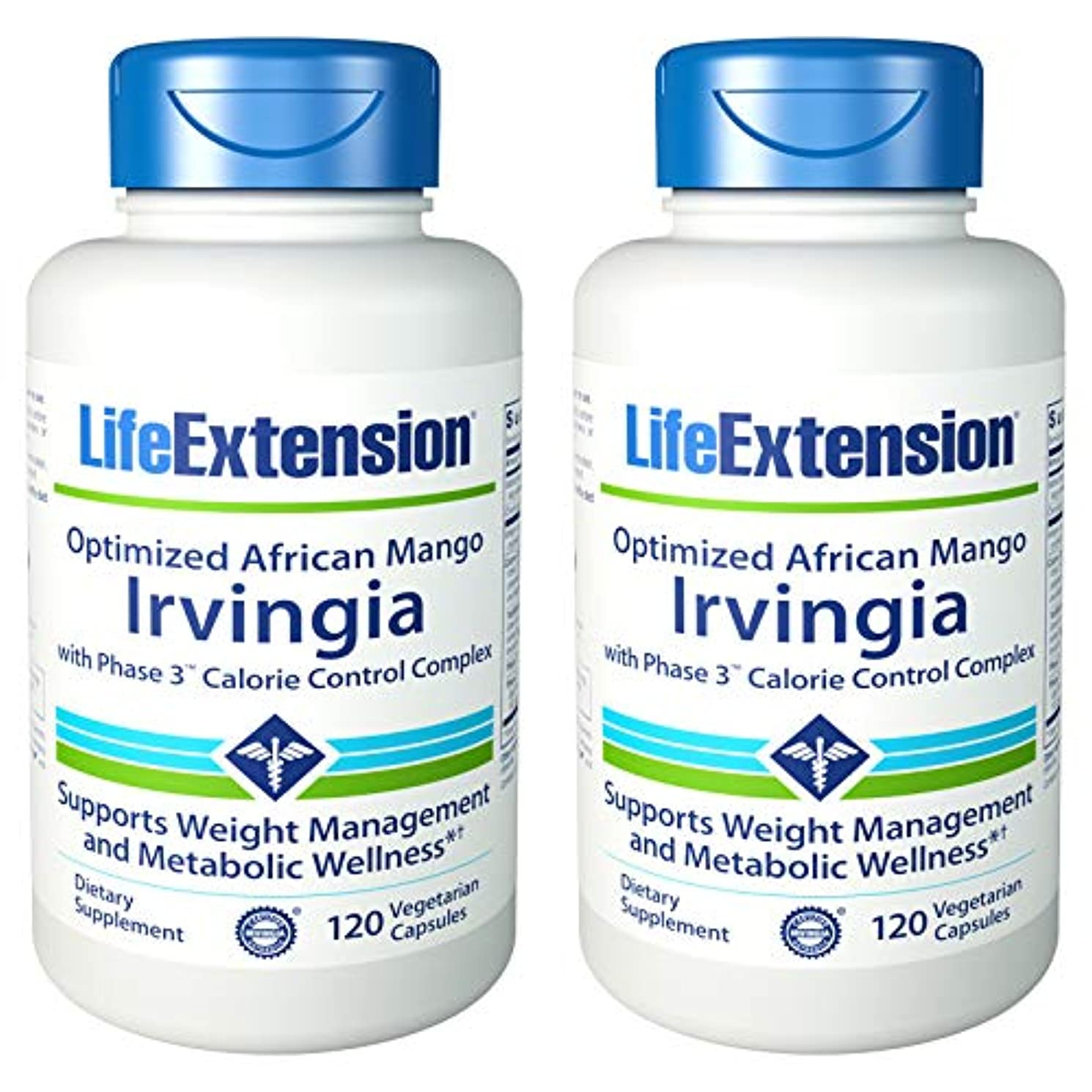 貫通関係助けになるOptimized Irvingia with Phase 3TM Calorie Control Complex 120 VegiCaps (Pack of 2) by Life Extension