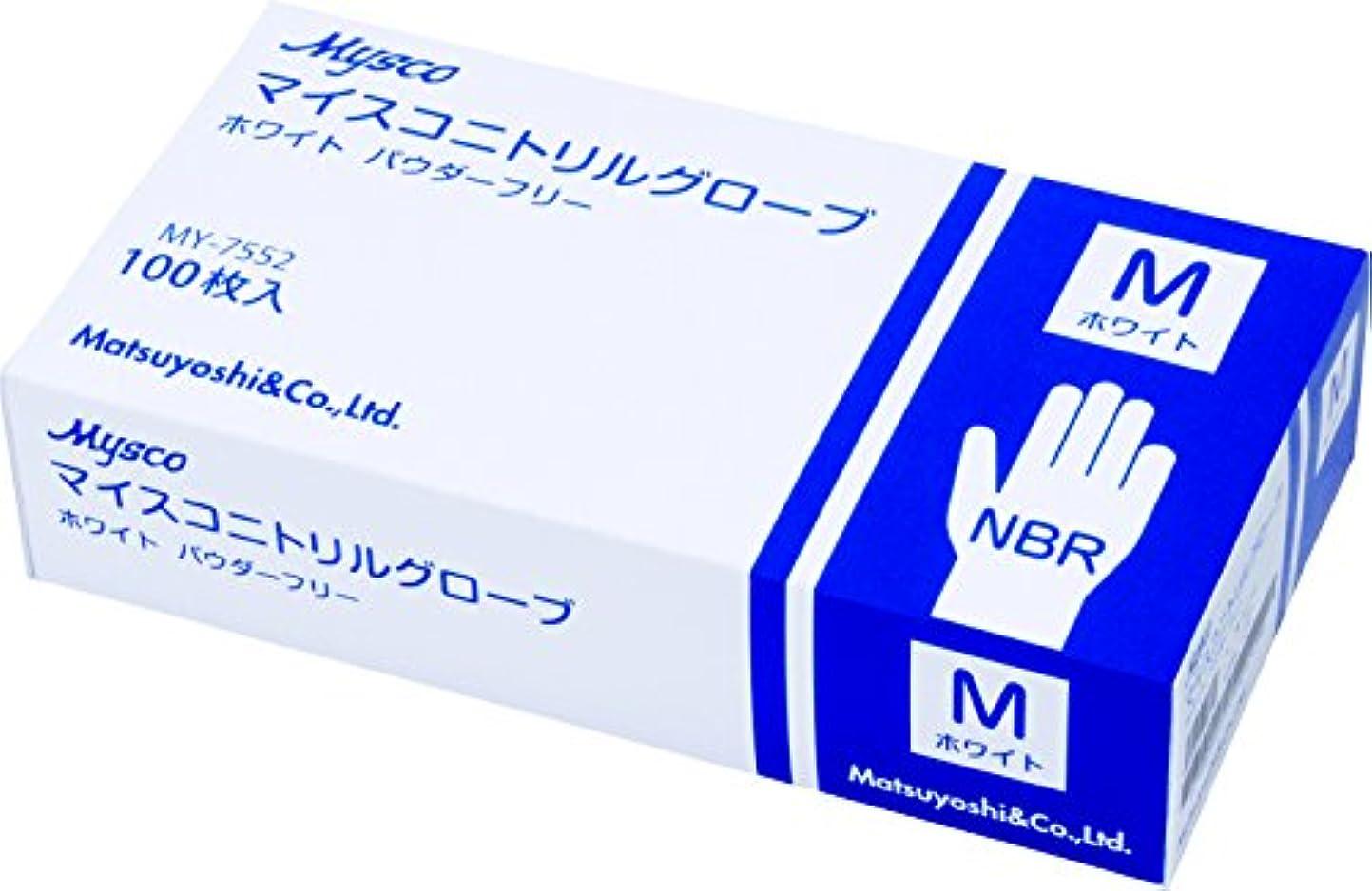 教育学他の場所通り使い捨て手袋 ニトリルグローブ ホワイト 粉なし(サイズ:M)100枚入り 病院採用商品