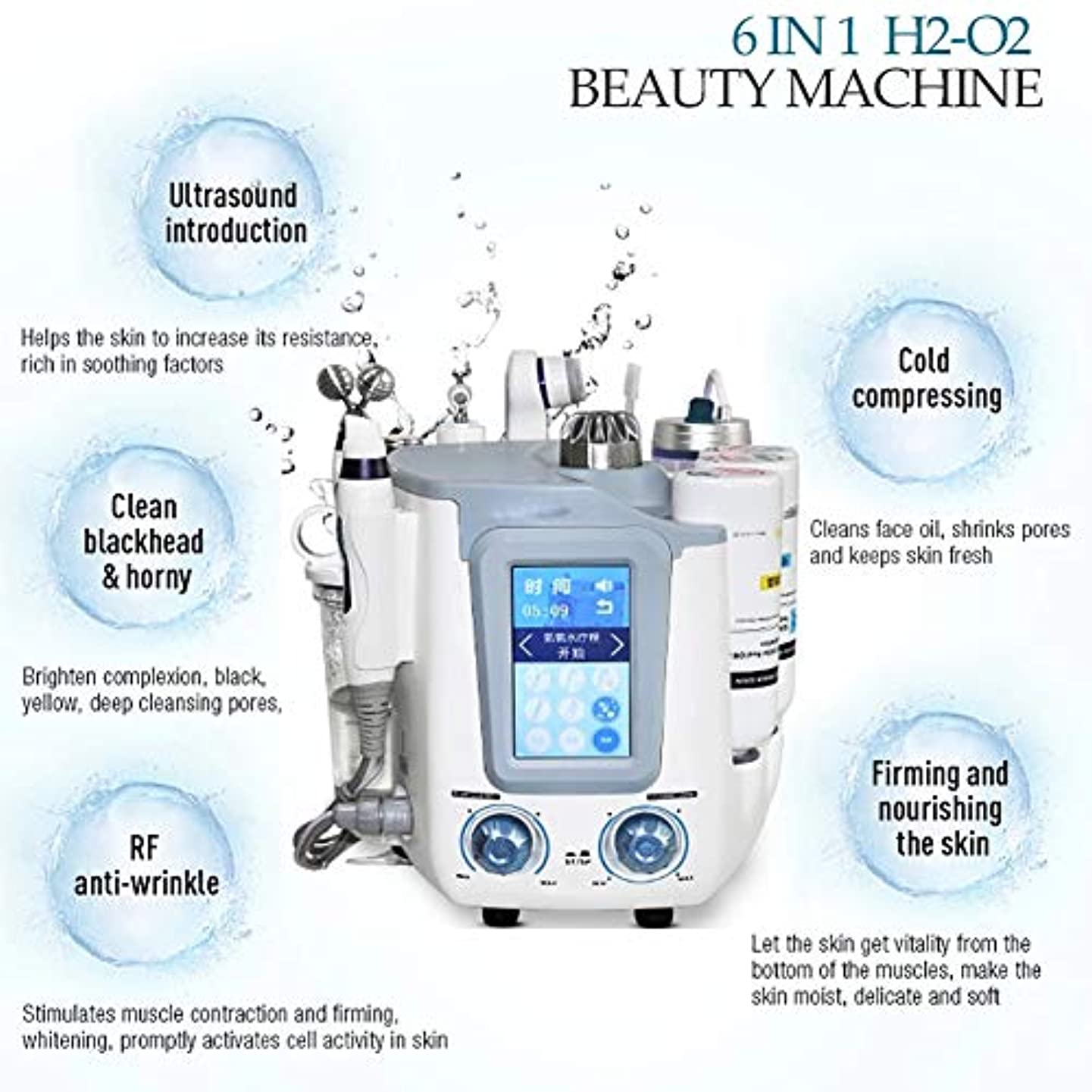 リットル復活するイブニング6 in 1フェイシャル水素スパマシン、水素酸素超マイクロバブルと水スプレー酸素皮膚剥離装置、皮膚水ハイドロ皮膚剥離機
