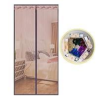 磁気スクリーン ドア夏蚊,フルフレーム velcro ミュート画面ドア メッシュ ホーム頑丈メッシュ スクリーン スナップは網戸を自動的にシャット ダウン-E 90x205cm(35x81inch)