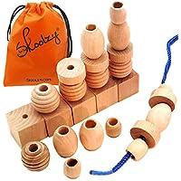 [Skoolzy]Skoolzy 25 Natural Wood Blocks Lacing Beads by Montessori Materials Preschool Toys Waldorf Motor Skills [並行輸入品]
