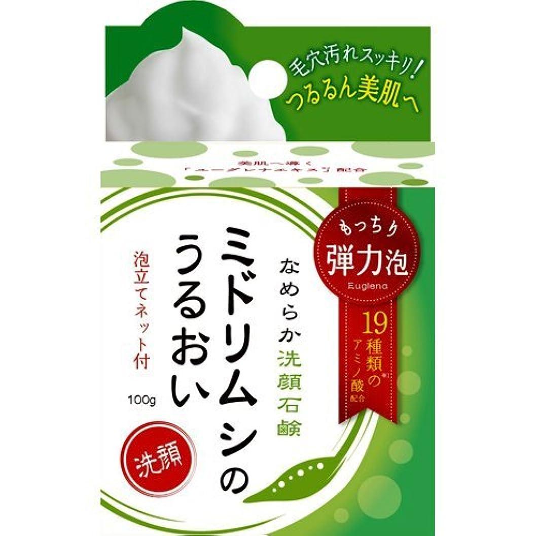 収容する安定したアダルトミドリムシのうるおい なめらか洗顔石鹸 100g