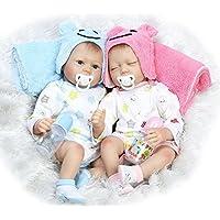 (エヌピーケー) NPK 本物そっくりリボーン新生児 双子の人形 眠る女の子と男の子 22インチ 2体セット 磁石おしゃぶり付き