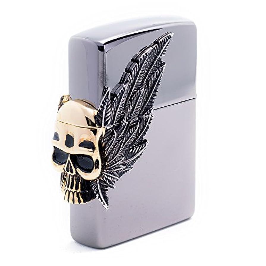 ミット慢競合他社選手Zippo Two Wings Skull BI Lighter ライター / 正真正銘の本物 / オリジナルパッキング(6フリントセット フリーギフト) [並行輸入品]