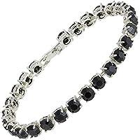 [RIVA Jewelry] テニスブレスレット [18cm/7inch] ラウンドカット ファインダイヤモンド CZ [ブラックオニキス] 18K ホワイトゴールド メッキ, シンプル モダン 優雅