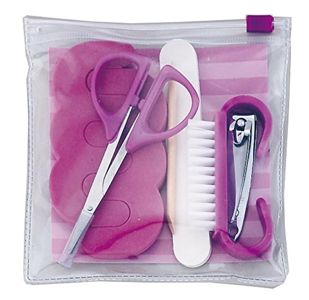 プライバシーお風呂を持っているライラックかわいい 爪切り セット 6バラエティーズ ( トゥーセパレーター ネイルブラシ 爪切り はさみ 甘皮カット 爪やすり 専用ポーチ ) パープル