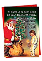 C6228XSG-B12x1 Box Set of 12 'Buy My Own Stuff' Humorous Christmas Card Featuring A Reflecting Letter to Santa Asking for Presents with Envelopes [並行輸入品]