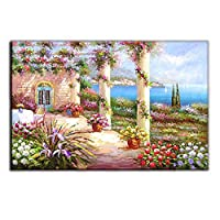 Cvbnl 油絵キャンバスウォールアート、半分手描きの装飾画壁画絵画油絵、回廊絵画,lodge_60x90cm