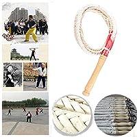 本革ブルホイップ、手作りの8ひだ鞭、2-5メートル/ 6-16フットロングコスチュームホイップスポーツ鞭フィットネス鞭乗馬鞭 - カラー選択:ホワイト 長鞭馬の鞭作物革と鞭の小道具ポ (Color : White, Size : 4m)