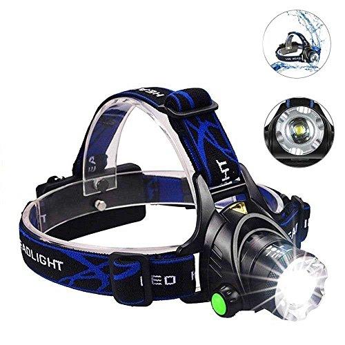 ヘッドライト ヴィクパワー(Victpower) LEDヘッドランプ 1000ルーメン 防水 4種の点灯モード ズーム機能付き 角度調整可能 アウトドア/作業 キャンプ/夜釣り/工事作業/自電車/ハイキング/防災/非常時用 充電可能な2500mAh18650バッテリー付き