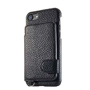 [RAKUNI×modaMania] iPhone 7 背面ポケットケース ラクニ【 墨 -boku- / ブラック 】本革 レザー アイフォンカバー