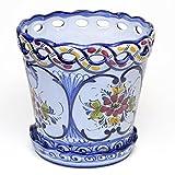 ポルトガル製 陶器 植木鉢 受け皿 セット 底穴あり 19cm ハンドメイド 手描き 青 アズレージョ pfa-595bl