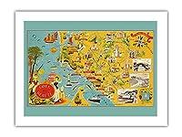 フランスのビューティーコースト - 南西海岸線 - 絵図 によって作成された ルシアン・ブーシェ c.1940 -プレミアム290gsmジークレーアートプリント - 46cm x 61cm