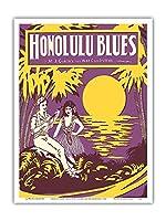 ホノルルブルース - 音楽:M. J. GunskyおよびNat Goldstein - ビンテージな五線紙 c.1923 - アートポスター - 23cm x 31cm
