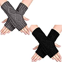 2 Pairs Women Knitted Fingerless Gloves for Winter, Handmade Crochet Arm Warmers