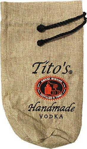 Titoのロゴ刺繍ウォッカボトルバッグ黄麻布