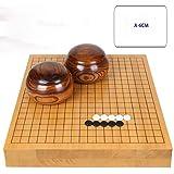 RACHELLE Yunzi Go チェスセット 無垢材彫刻 両面チェスボード 無垢材タンク付きニューユンジ (色:A、サイズ:6cm)
