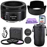 Canon 50mm f/1.8 STM Camera Fixed Lens. PagingZone Deluxe Kit Includes 3Piece Filter Set + Lens Case + Lens Hood + 32GB Class 10 Card. for Eos 6D 70D 5D MK II III Rebel T3 T3i T4i T5 T5i SL1.