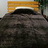 毛布 衿付き2枚合わせ ダブルサイズ 180×200cm カラー 215DK01D (ダークブラウン)