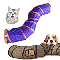 """""""S""""Funny Pet Tunnel Cat Play Tunnel Brown Foldable 1 Holes Cat Tunnel Kitten Cat Toy Bulk Cat Toys Rabbit Play Tunnel"""