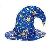 HuaQingPiJu-JP ベンドキャップハロウィン装飾5ポイントスターパターン魔女Hat_Blue