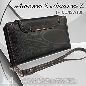 docomo ARROWS X F-10D au ARROWS Z ISW13F カバー JMEIオリジナルレザー手帳ケース Dandy ブラック(柄) ドコモ アローズx エーユー アローズz スマホ カバー スマホケース スマートフォン ケース