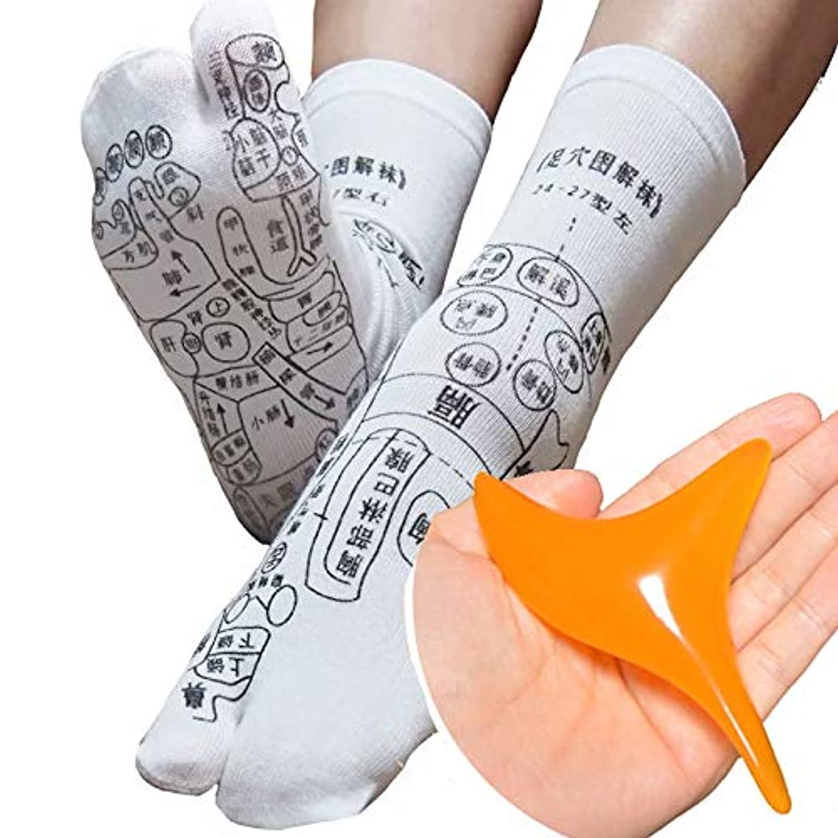 プレーヤー写真を撮るスクリュー足全体のツボが「見える」プリントソックス オカリナ型カッサ付き 足裏つぼおしソックス 足ツボ靴下 反射区 サイズ22~26センチ 靴下の字は中国語