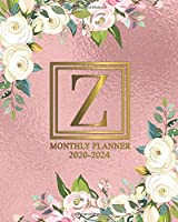 2020-2024 Monthly Planner: Floral Monogram Initial Letter Z Five Year Monthly Organizer & Schedule Agenda | Personal 5 Year (60 Months) Spread View Calendar, Diary & Schedule Notebook | Rose Gold Foil Print