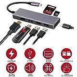 USB Type C ハブ 7in1 USB C ハブ ウルトラスリム ドッキングステーション 4K HDMI出力 PD 充電対応 ドッキングステーション USB3.0 ハブ SD/Micro SD カードリーダー マイクロ タイプC HDMI 変換 アダプタ MacBook MacBook Pro/ChromeBook対応