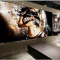 Xueshao 装飾Ktvバー美しい少女の壁紙ゴールデン壁紙の背景3D防水不織布の壁を覆う壁紙-350X250Cm