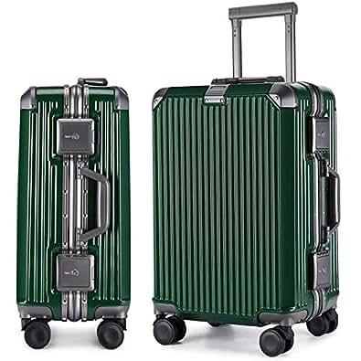 LNMLAN マット加工 アルミニウムマグネシウム合金フレーム スーツケース 機内持ち込みスーツケース トラベルバッグ キャリーバッグ TSAロック 静音キャスター6016 (S, グリーン)