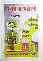 Half a Donkey Vietnam - Lサイズ コットン レトロ トラベルポスター ティータオル