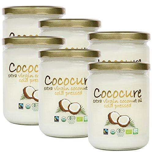 COCOCURE 有機 JAS オーガニック フェアトレード エキストラ バージン ココナッツオイル コールドプレス製法 6個
