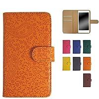 スマホケース 手帳型 全機種対応 ケース 手帳 カバー スマホカバー スライドS ペイズリー柄 オレンジ WHITENUTS TC-DS03596/S