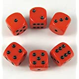 Orange Opaque Dice Black Pips D6 16mm Pack of 6 Wondertrail WCX25603E6