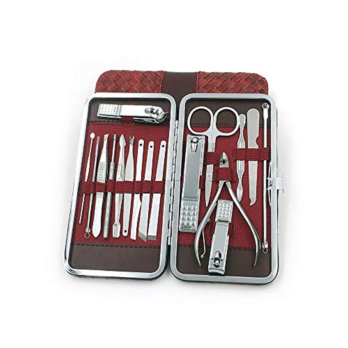 鰐接辞七面鳥ステンレス爪切りセット携帯便利男女兼用 爪切りセット収納ケース付き、赤、16点セット