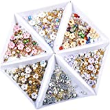 Solustre 6Pcs Nail Art Rhinestones Nail Flower Beads Nail Art Crystal Jewels Nail Gems Nail Studs for Tablets Scrapbooks Cell Phones Supplies